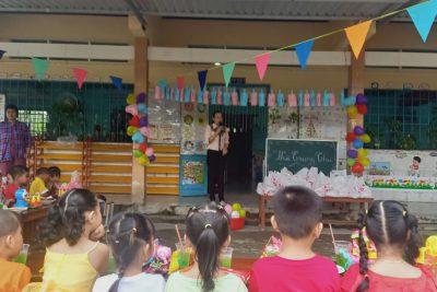 Tổ chức đêm trung thu tại đểm Cạnh Đền 2, trường Mẫu giáo Vĩnh Phong năm học 2020-2021